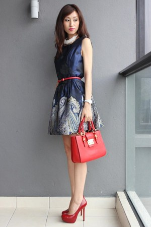 red Miu Miu bag - navy Mood &amp; Closet dress - white sismade necklace