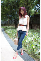 peplum Club Monaco top - navy Guess jeans - Prada bag