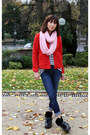 Black-coach-boots-navy-7-for-all-mankind-jeans-red-uniqlo-sweater