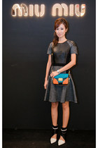 turquoise blue Miu Miu bag - white DKNY boots - black karen millen dress
