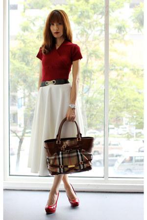dark brown Burberry bag - white asos skirt - ruby red Steve Madden pumps 71c696ab75d1b