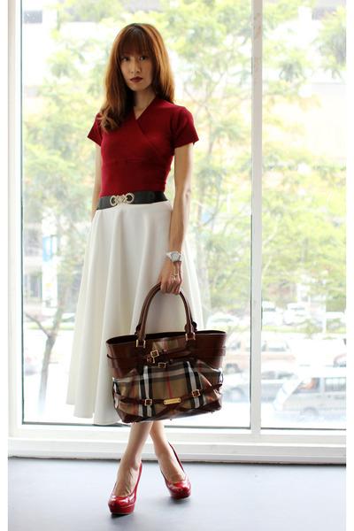 dark brown Burberry bag - white asos skirt - ruby red Steve Madden pumps