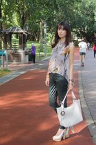 white Fendi bag - ivory Aldo shoes - forest green 7 for all mankind jeans