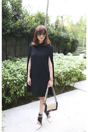 black DKNY cape - DKNY boots - Chanel bag - Karen Walker sunglasses