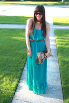 turquoise blue Forever 21 dress - camel Just Fabulous bag