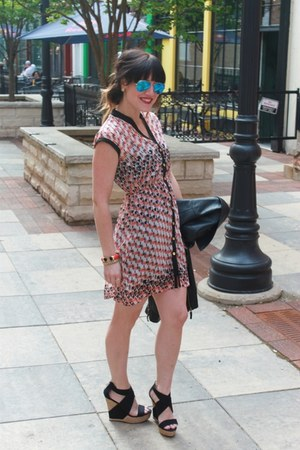 Aqua dress - Sheinside jacket - just fab wedges