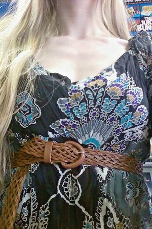 brown belt - brown Jessica Simpson shoes - black xilleration dress