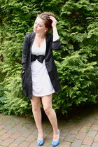 blue unknown brand shoes - white Monki dress - black Monki blazer - black Monki
