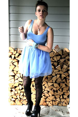 black Nelly shoes - black BikBok stockings - blue BikBok dress
