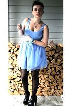 black Nelly shoes - black BikBok stockings - blue BikBok dress