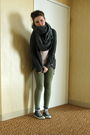 Green-bikbok-leggings-gray-oasis-cardigan-pink-h-m-top-gray-bikbok-scarf
