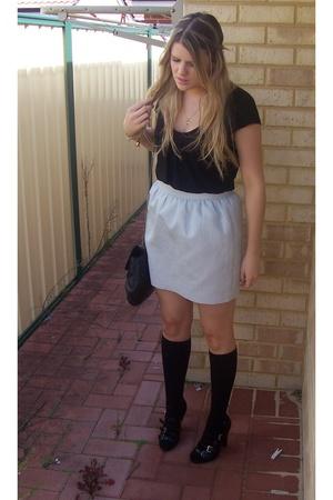 Forever New skirt - Sportsgirl top - Sportsgirl purse - bonds socks