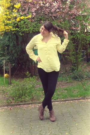 yellow Amisu blouse - H&M jeans