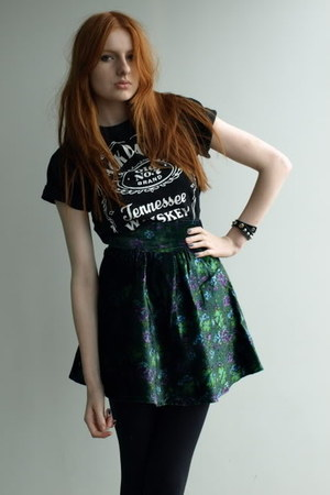 Thrift Store t-shirt - green velvet skater vintage skirt
