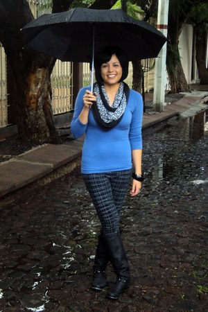 black long boots - black plaid leggings - blue plain shirt