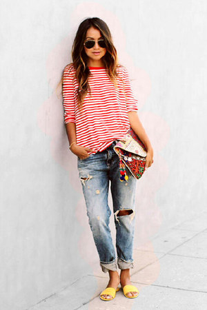 gold bracelet - blue boyfriend jeans - bag - brown sunglasses - red striped top
