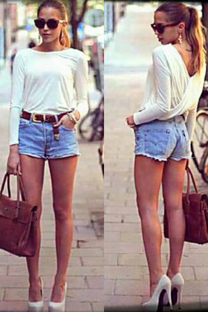 dark brown leather bag - blue shorts - white cotton top - dark brown glasses