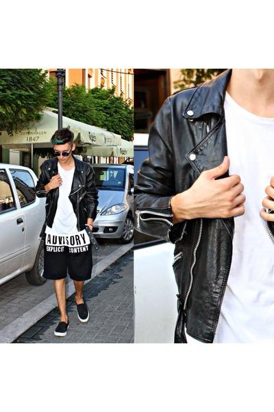 black jacket - black Choies shorts - white New Yorker t-shirt