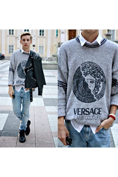 black rock pull&bear boots - blue ripped Zara jeans - black leather jacket