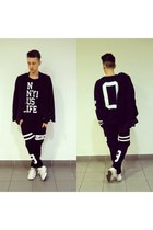 black urban Bershka sweatshirt - black men Zara blazer - black urban pants