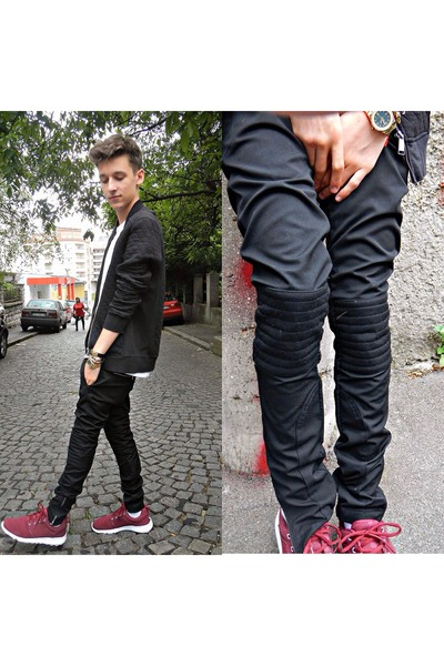 black H&M sweatshirt - black biker Zara pants - brick red sneakers