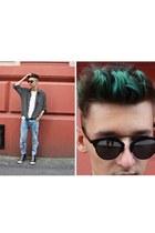 black shirt - sky blue Zara jeans - black Choies sunglasses