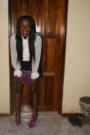 pleated skirt H&M skirt - ruffles Ralph Lauren blouse - velvet Topshop heels