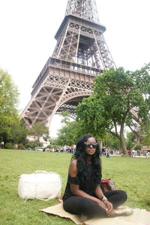 gold Topshop shoes - black Topshop leggings - dark brown Louis Vuitton bag - whi