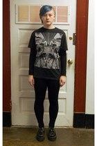 black Forever 21 leggings - black Forever 21 shirt - black Demonia wedges