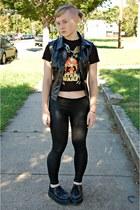 black American Apparel leggings - black star wars thrifted shirt