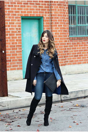black Tahari coat - black Zara boots - navy Guess top