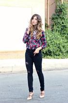 ruby red Zara top - Zara jeans