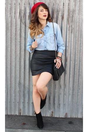 Forever 21 skirt - sam edelman boots - Levis shirt