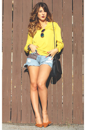 Zara blouse - Zara bag - Levis shorts - cotton on sunglasses