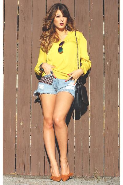 Zara blouse - Zara bag - Levis shorts - cotton on sunglasses
