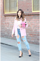light pink alythea coat - light blue Zara jeans - white Uniqlo top