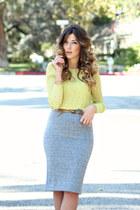 yellow Zara top - heather gray H&M skirt - camel Steve Madden sandals