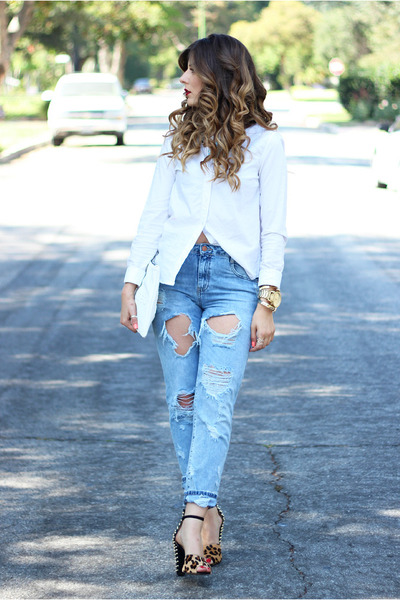white Topshop shirt - sky blue Zara jeans - black Zara sandals