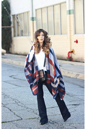 gray Topshop cape - navy Guess jeans - black Rebecca Minkoff bag