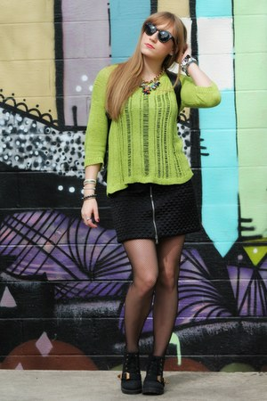 black PacSun boots - chartreuse Forever 21 sweater - black romwe bag