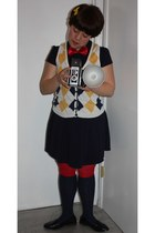 white Forever21 vest - navy Target dress - navy Ross socks - black Bakers shoes
