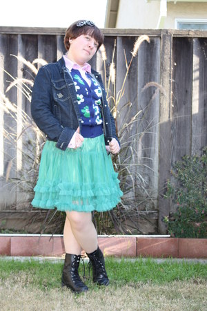 black Dollhouse boots - aquamarine Cirque 21 skirt - navy Beccini jacket - navy