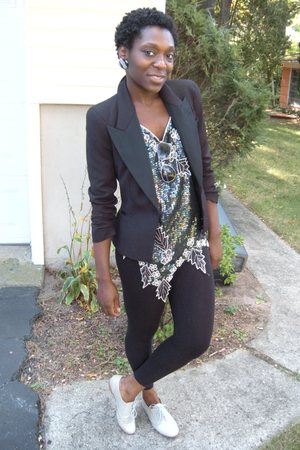 Zara blazer - vintage sequence blouse - H&amp;M leggings - Steve Madden gray oxfords