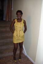 Forever21 yellow dress - Off Saks fifth ave shoes - Chain - earings