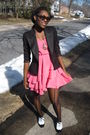 Pink-h-m-dress-black-zara-blazer-black-centry21-tights-white-steve-madden-