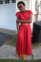 red goodwill dress - vint belt - sam edelman boots