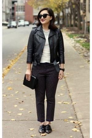 black leather moto H&M jacket - deep purple graphic print H&M pants