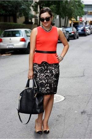 pencil lace H&M skirt - tote Prada bag - orange peplum Forever 21 top