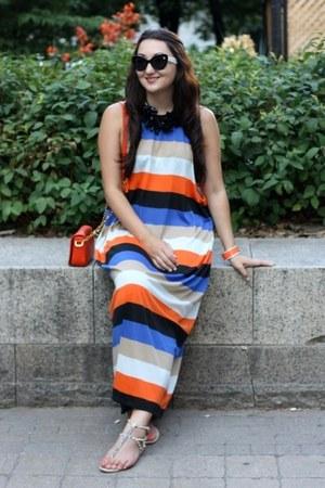 blue striped Cheap Monday dress - carrot orange shoulder tory burch bag