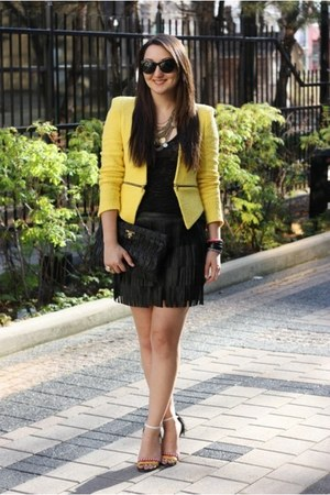 black leather fringe Zara skirt - yellow tweed Zara blazer
